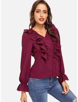 Блузка с воланами бордовая