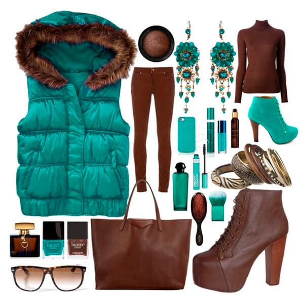 Зеленый с коричневым в одежде