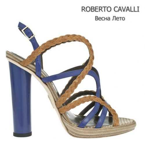 Босоножки Roberto Cavalli с кожаными плетениями