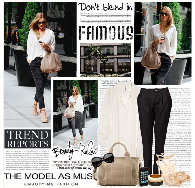 Черно-белый лук и бежевые туфли