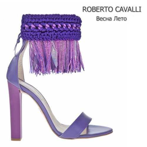 Квадратный каблук и бахрома Roberto Cavalli