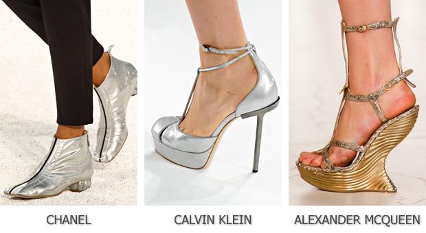 Металлический блеск модной обуви