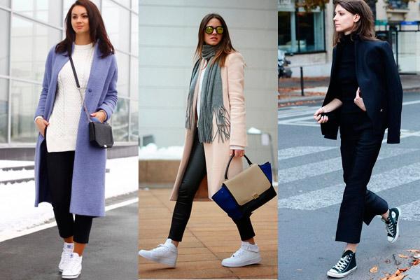 С какой обувью носить укороченные брюки - вариант с кроссовками